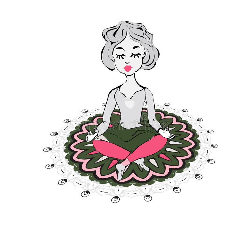 Girl that does yoga on a background of green mandala An isolated figure. vector illustration