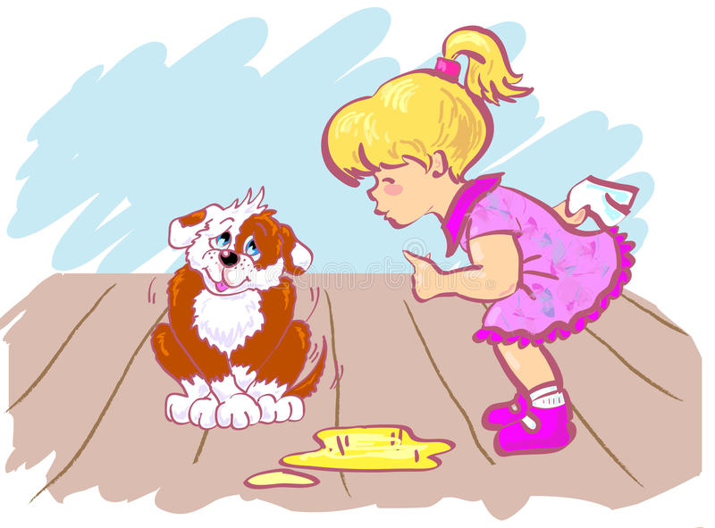 Girl and dog. stock illustration