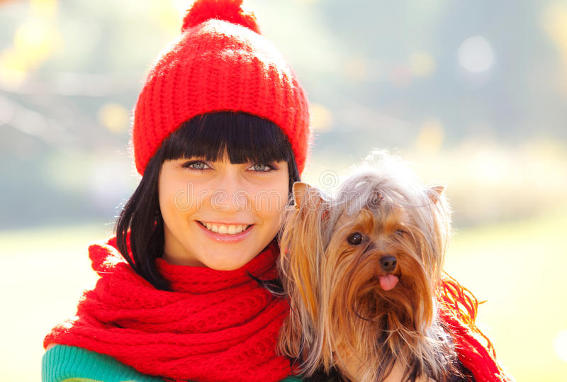 Download Girl with dog stock image. Image of love, animal, nature - 21291563