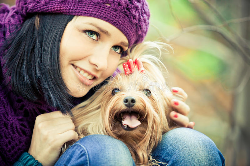 Download Girl with dog stock photo. Image of golden, person, scarf - 21291572