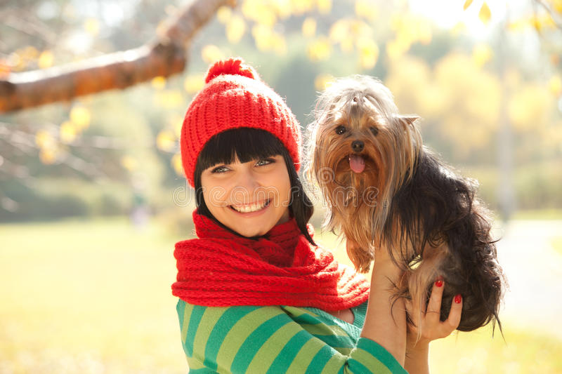 Download Girl with dog stock photo. Image of model, autumn, furry - 21505858