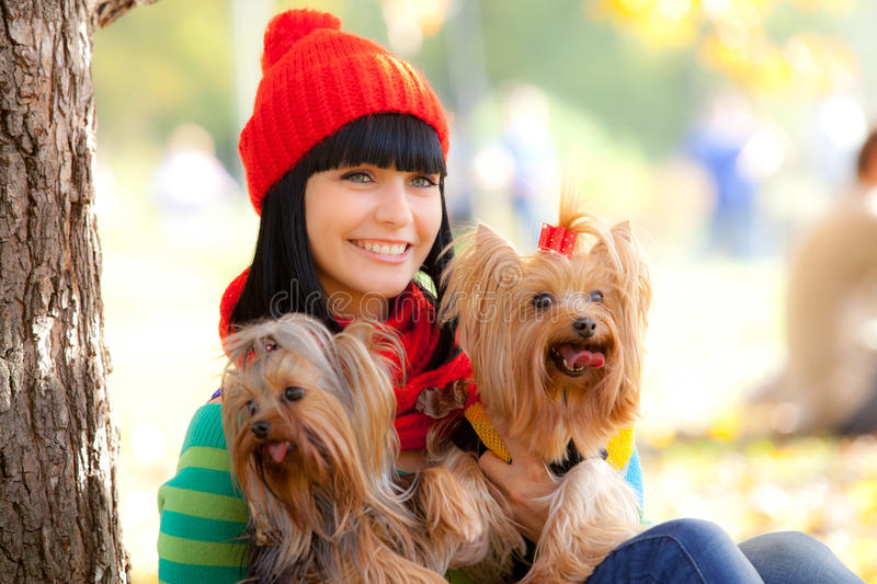 Download Girl with dog stock image. Image of model, nature, human - 22093453