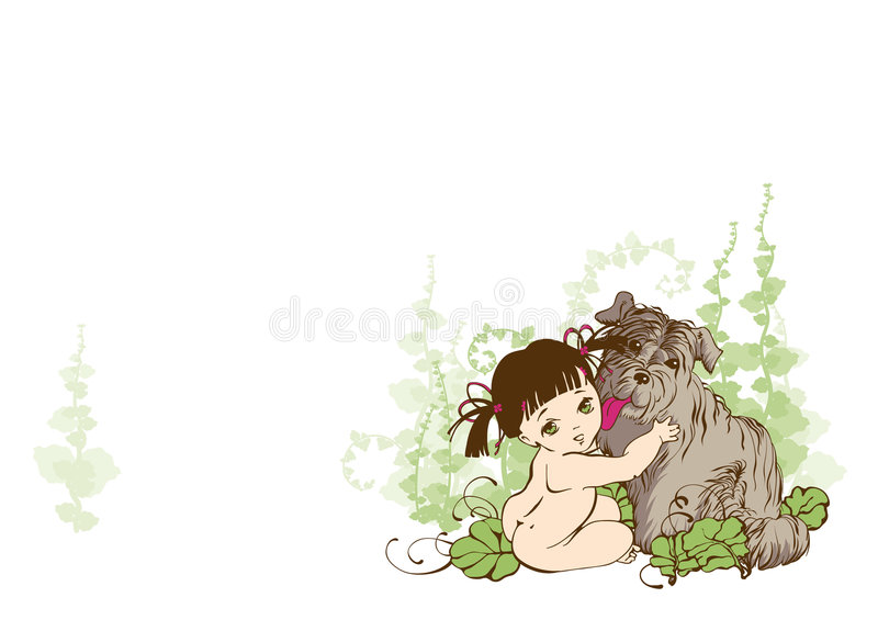 Download Girl With Dog stock vector. Image of baby, leaf, anime - 3052722