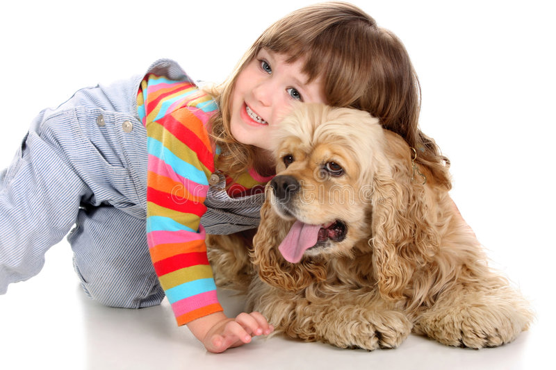 Girl and dog royalty free stock images