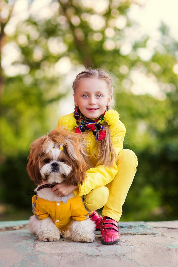 Girl and dog as friends happy together in summer in the nature stock image