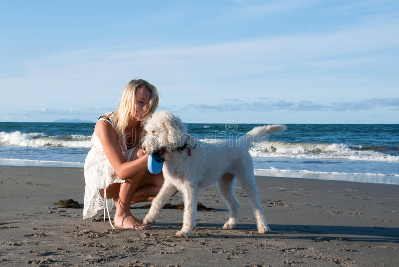 Girl with dog at beach royalty free stock photos