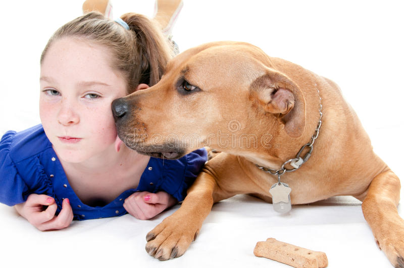 Girl, dog and bone. Girl and dog by bone stock image