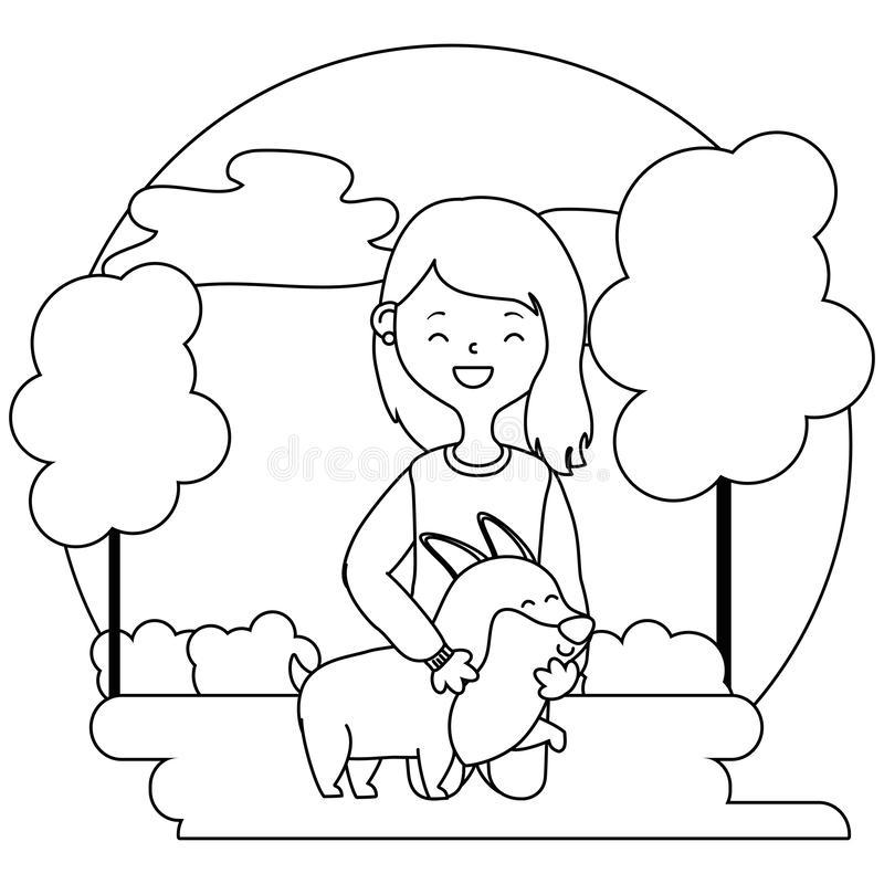 Girl with dog cartoon design royalty free illustration