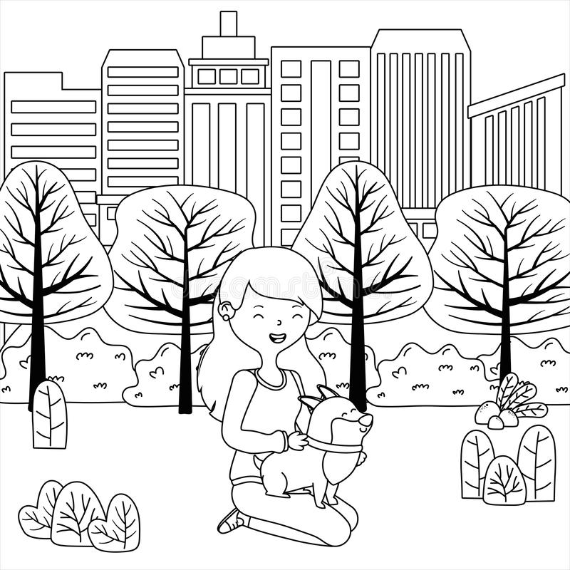 Girl with dog cartoon design stock illustration
