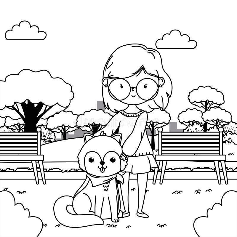 Girl with dog cartoon design vector illustration