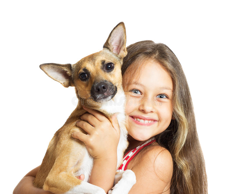 Girl with a dog in her arms stock image