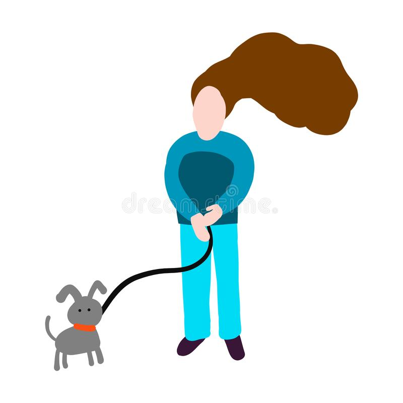 Girl and dog illustration walking together grey blue brown and violet. Hand drawn in minimalistic style royalty free illustration