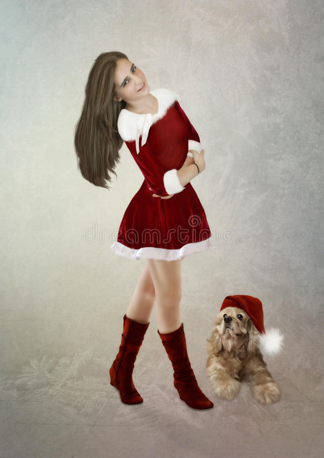 The girl and the dog royalty free stock photos