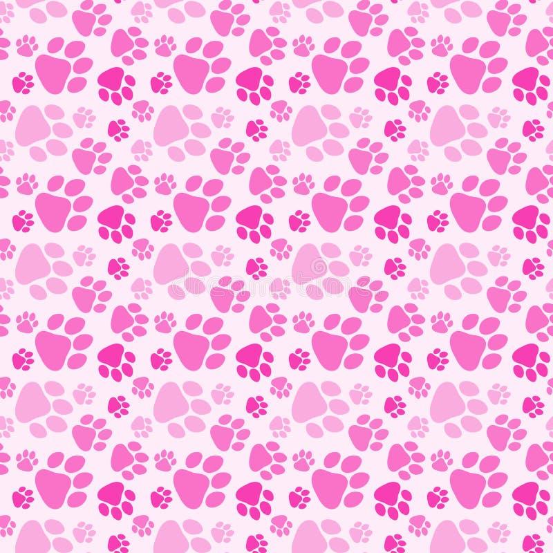 Girl Dog Paw Prints Seamless Background vector illustration