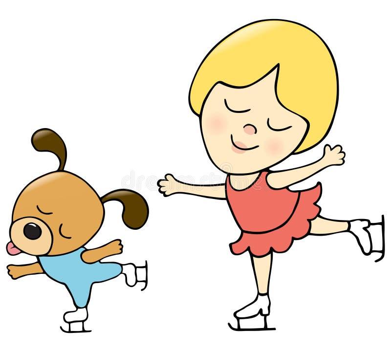 Girl and dog skating. Illustration of a girl and a dog enjoying skating