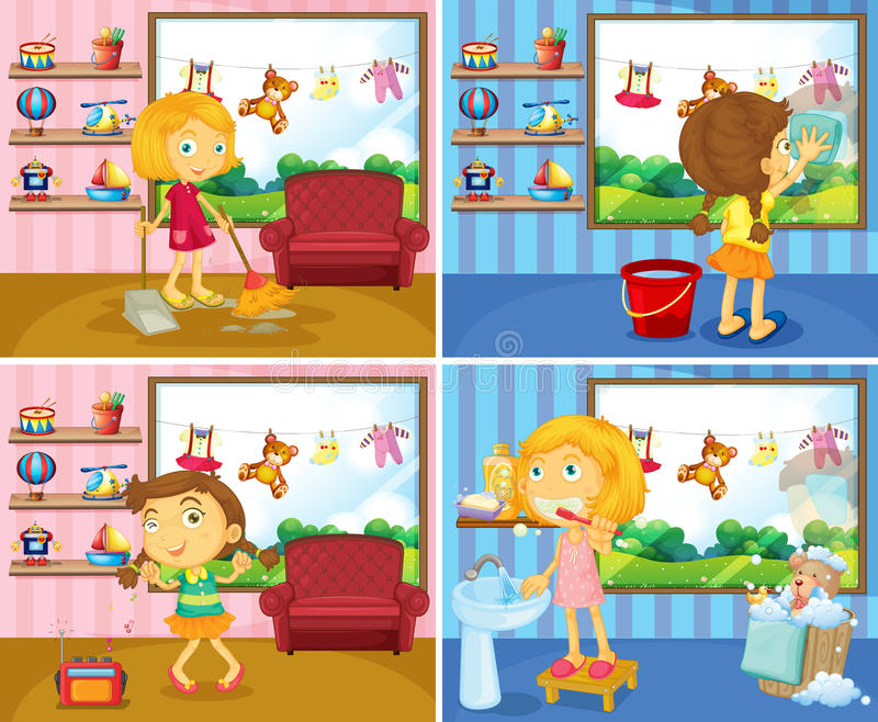 Girl doing chores in the house. Illustration royalty free illustration