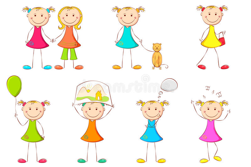 Girl doing different Activities royalty free illustration