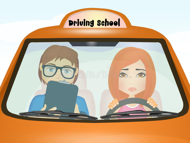 Girl doing driving school examination. Illustration of girl doing driving school examination stock illustration