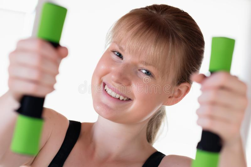 Girl Doing Dumbbell Exercises Stock Image - Image of lifting