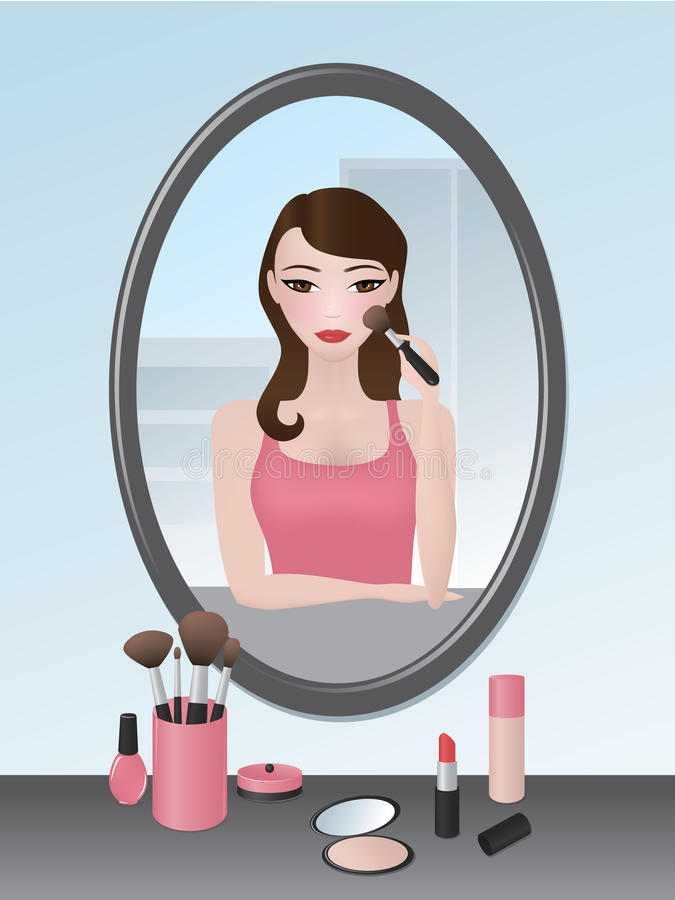 Download Girl doing her makeup stock vector. Image of adult, home - 26557597