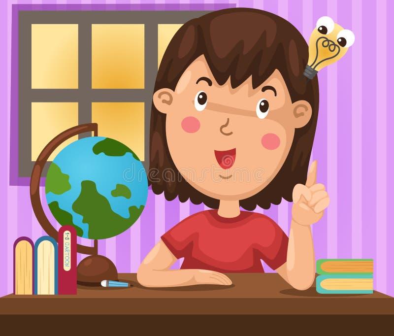 Girl doing homework. Illustration of girl doing homework vector illustration