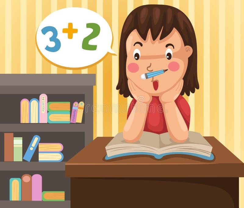 Girl doing homework. Illustration of girl doing homework stock illustration