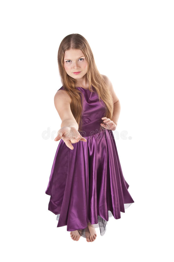 Girl Doing An Invite Gesture Stock Photography
