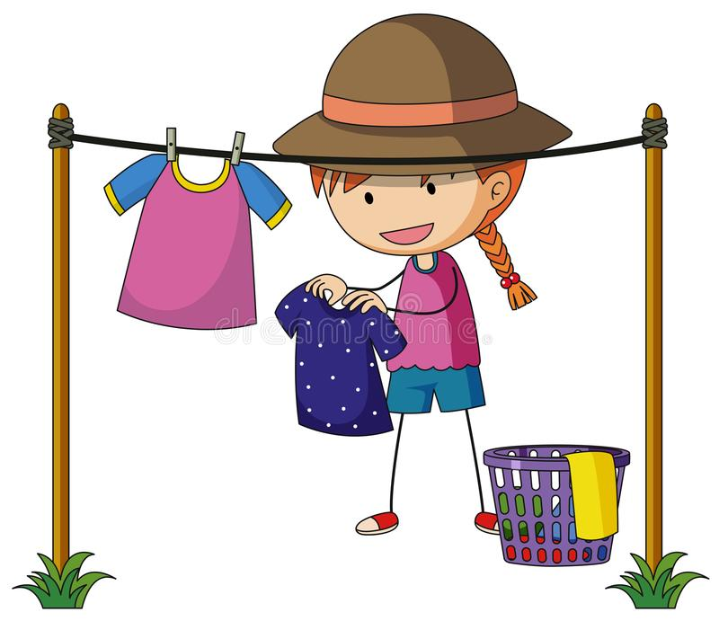 Girl doing laundry outside. Illustration royalty free illustration