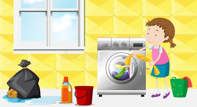 Girl doing laundry in the room stock illustration