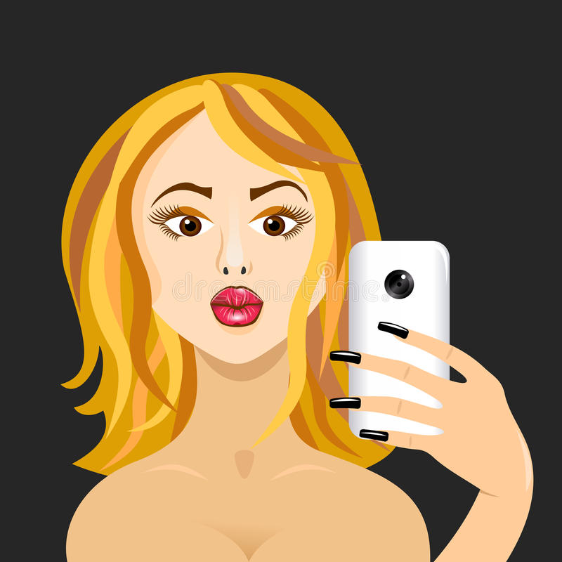 Girl doing self in mirror duck face forward on black vector illustration