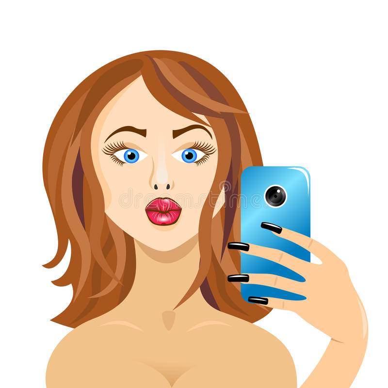 Girl doing self in mirror duck face forward on white vector illustration
