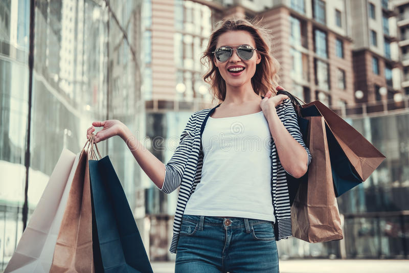Download Girl doing shopping stock photo. Image of modern, life - 97091770