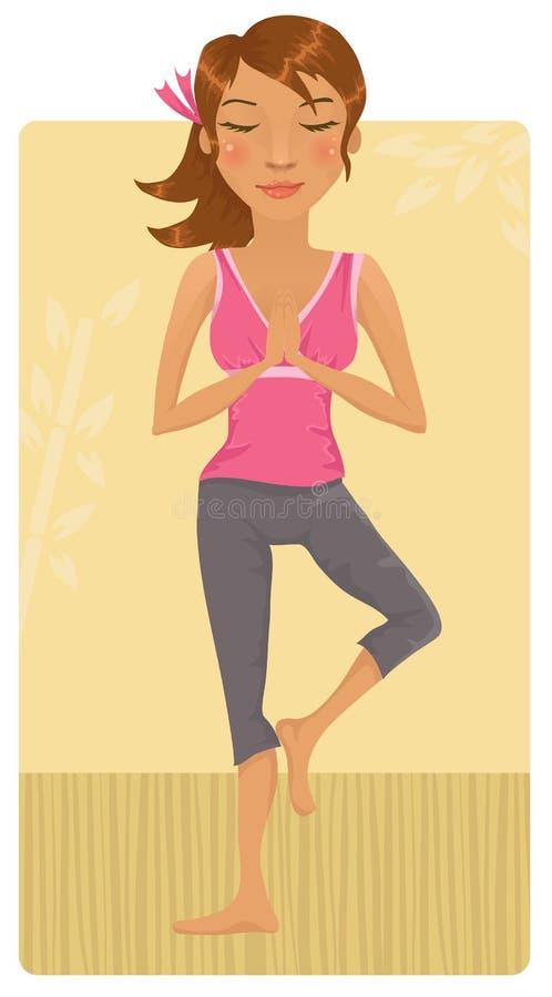 Girl doing yoga stock illustration
