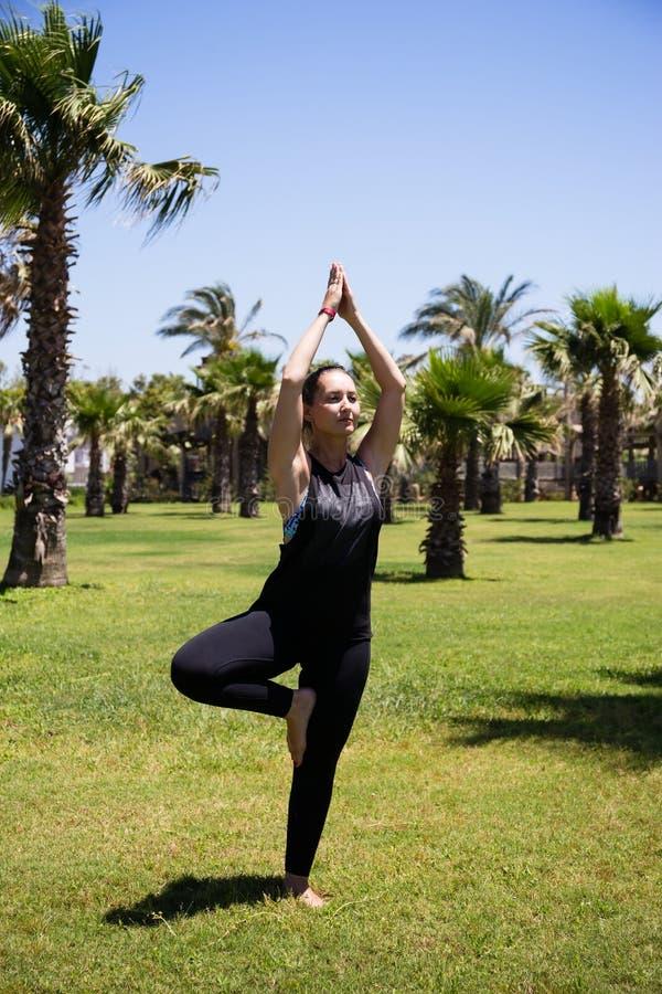 Girl doing yoga on the grass among palm trees royalty free stock image
