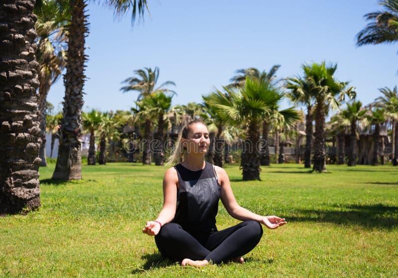 Girl doing yoga on the grass among palm trees royalty free stock photography