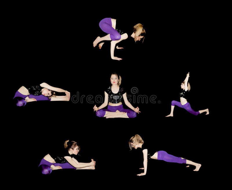 GIRL doing yoga in sport clothes performing asanas is a healthy happy successful royalty free stock images