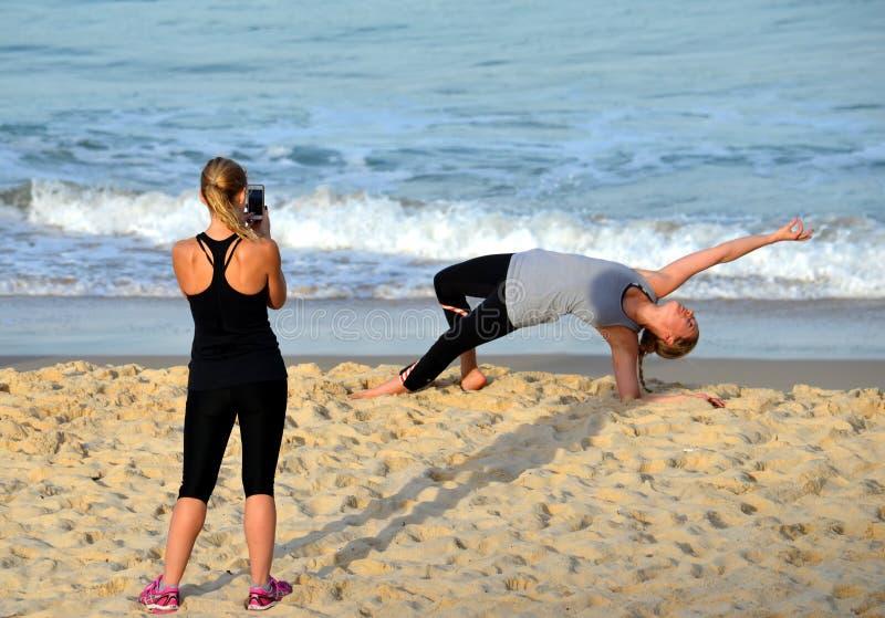 Girl doing yoga stock image