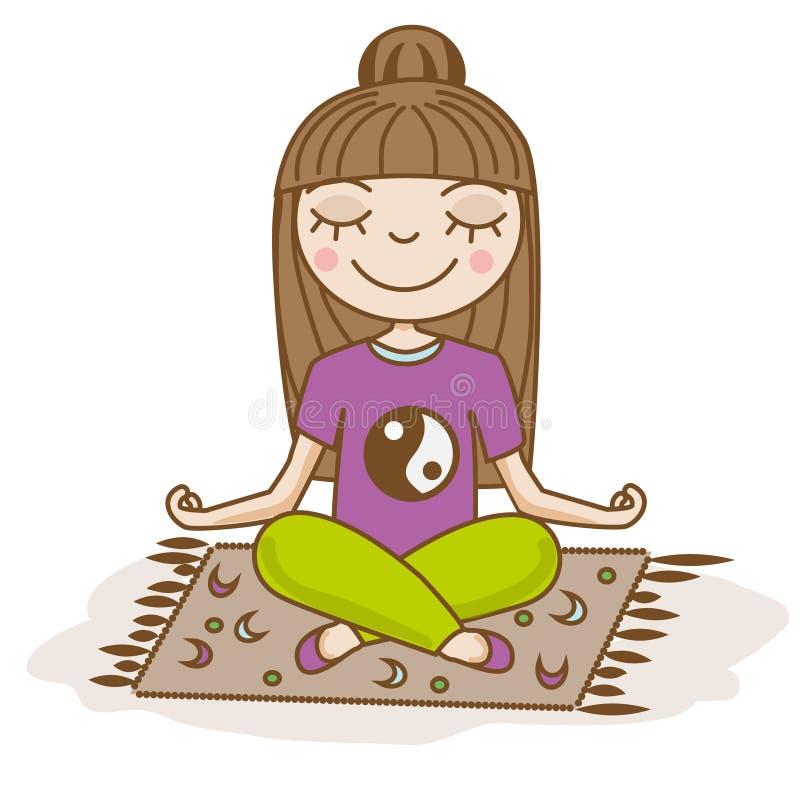 Girl doing yoga. Woman sitting in half lotus pose. Hand drawn vector illustration. Meditation, happiness, calm. Girl doing yoga. Woman sitting in half lotus pose royalty free illustration