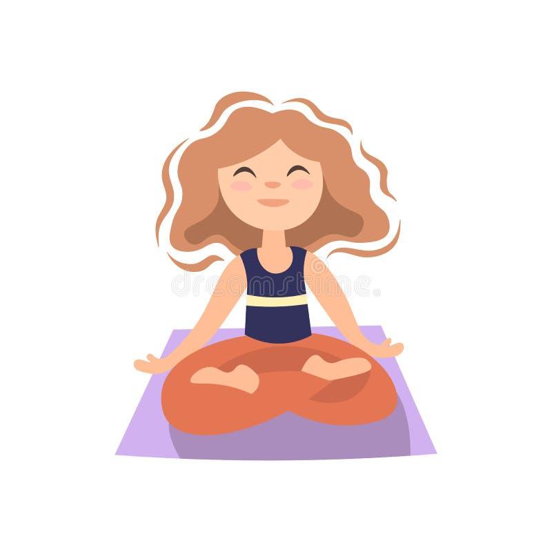 Girl doing yoga on yoga matt, in lotos pose. Little girl in lotos posture, yoga exersise, vector cartoon illustration vector illustration