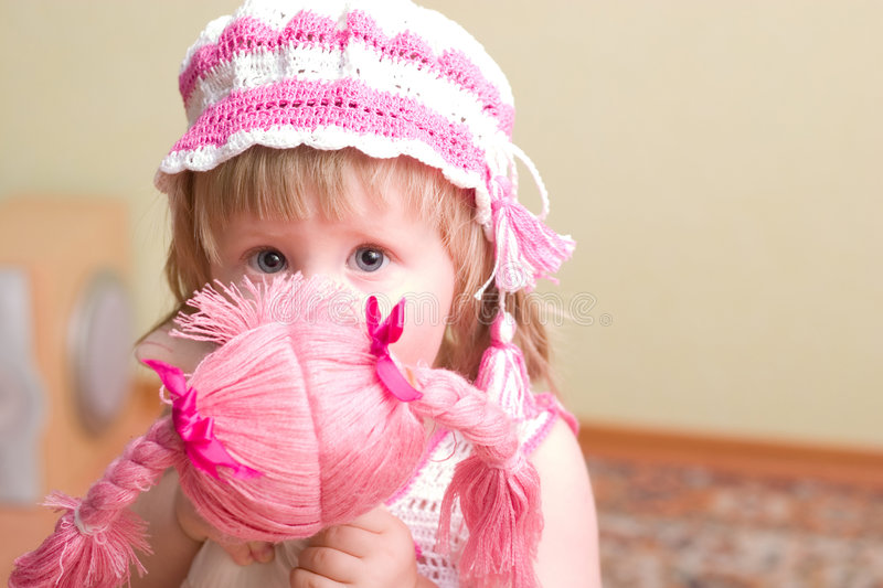 Download Girl with doll stock photo. Image of caucasian, cute, girl - 2301118