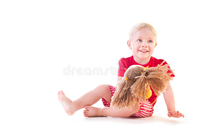 Download Girl with a Doll stock image. Image of enjoyment, sitting - 24080001
