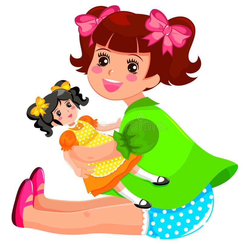 Girl and doll royalty free illustration