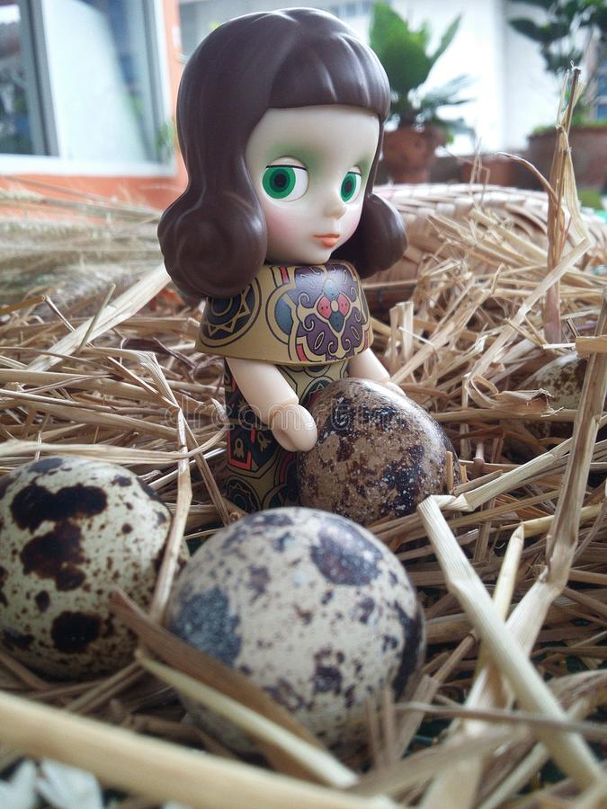 Girl doll with quail eggs on thatch background texture. White gray and brown design by nature royalty free stock photos