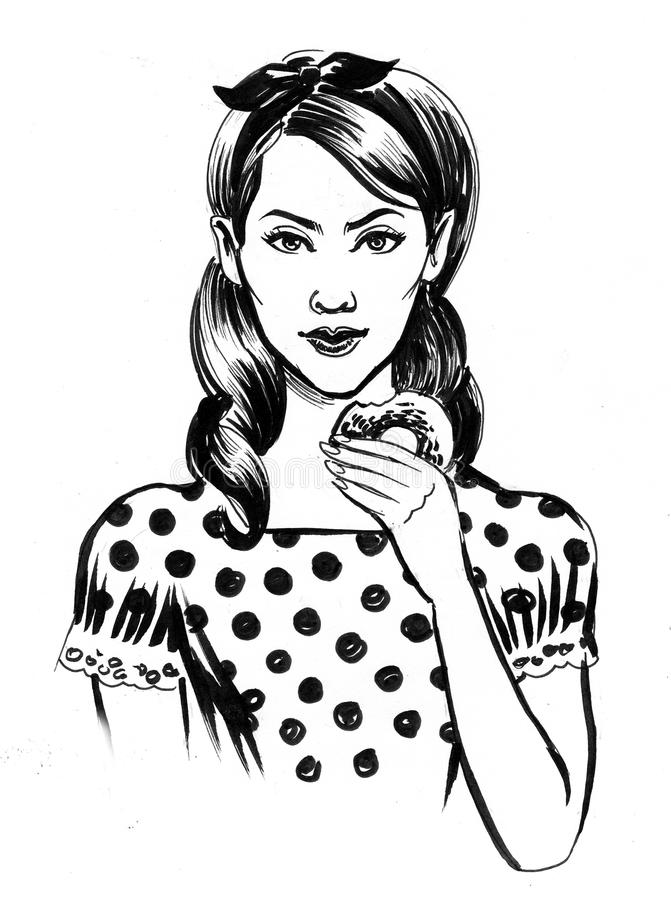 Girl with a donut stock illustration