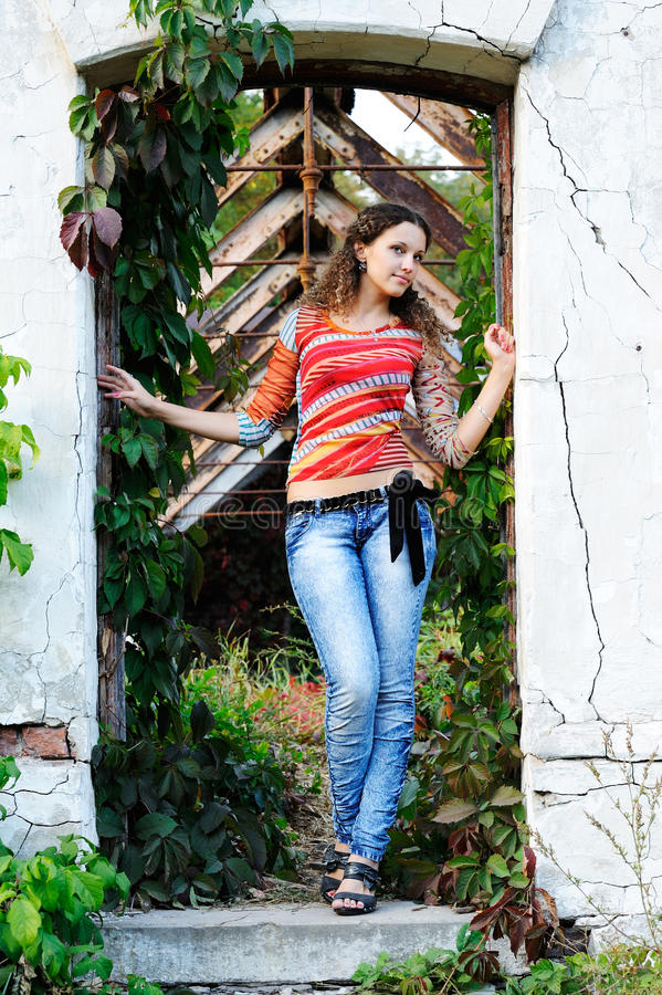 Girl In The Doorway Stock Images