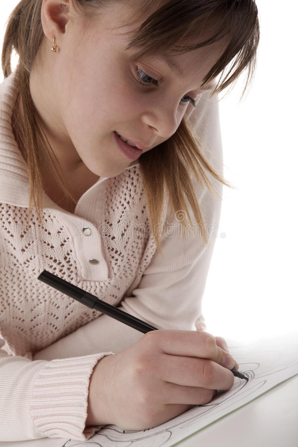 Download Girl draw a marker stock photo. Image of drawing, marker - 24023936