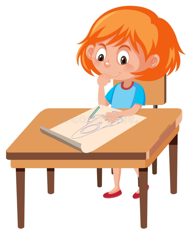 A girl draw rocket stock illustration