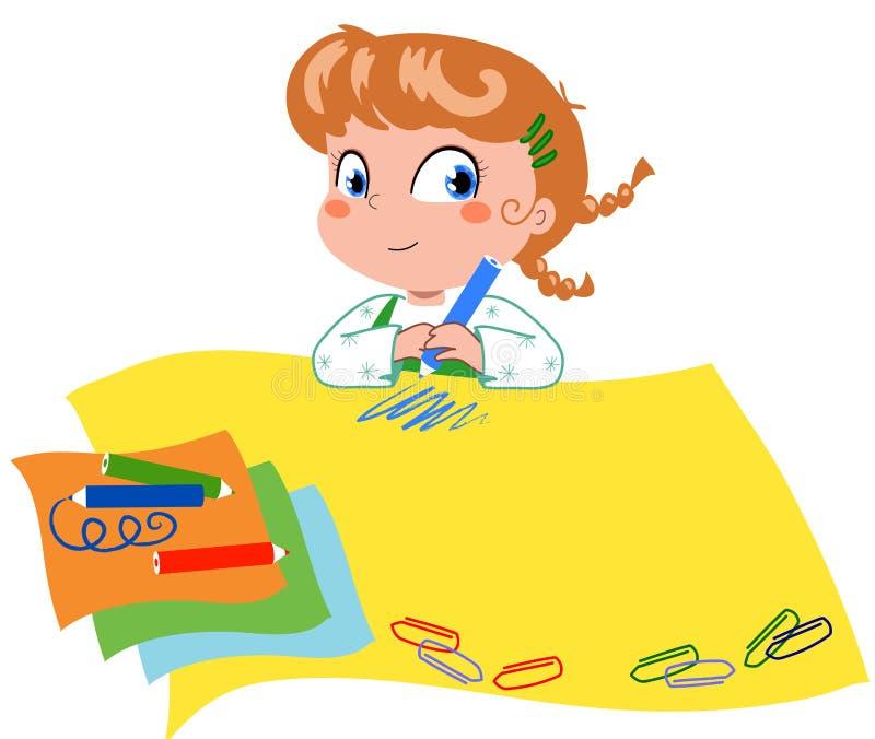 Download Girl drawing vector stock vector. Image of crayon, school - 12272654