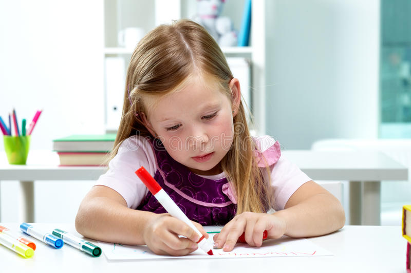 Download Girl drawing stock image. Image of cute, pencil, creativity - 23780831