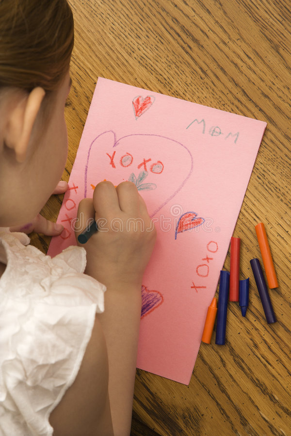 Girl drawing. stock images